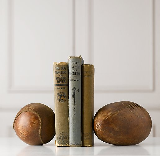 Vintage Leather Sportsball Bookend - Set of 2