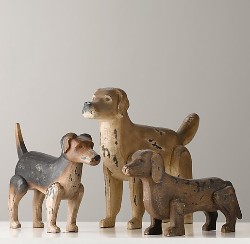 Antiqued Wood Dogs