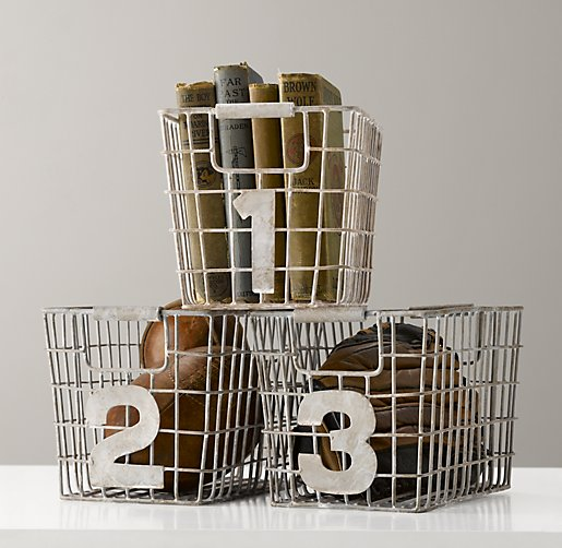 Industrial Numbered Wire Baskets Set of 3