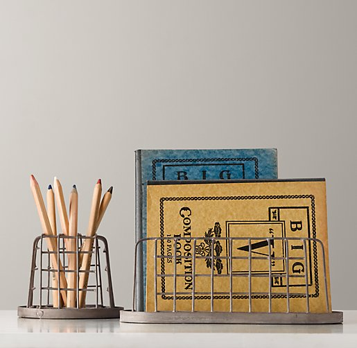 Industrial Desk Accessories - Pencil Cup & Paper Holder Set