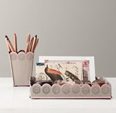 Scalloped-Edge Desk Accessories - Pencil Cup & Tray Set