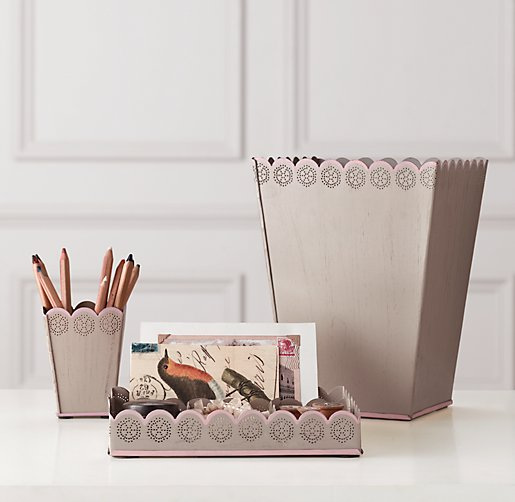Scalloped-Edge Desk Accessories - Set of 3