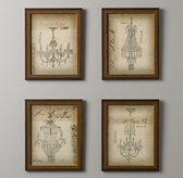 Vintage Chandelier Sketches - Set of 4