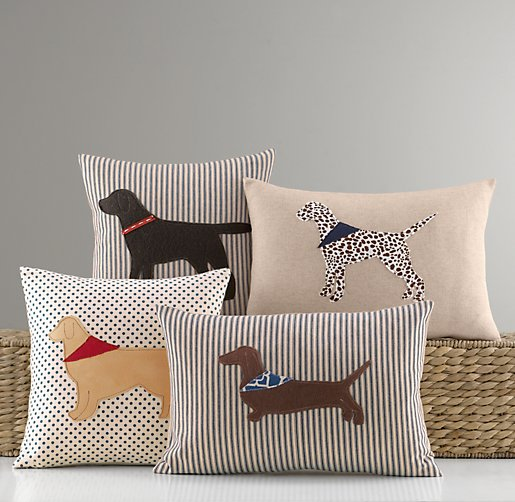 Applique Dog Pillow Cover & Insert