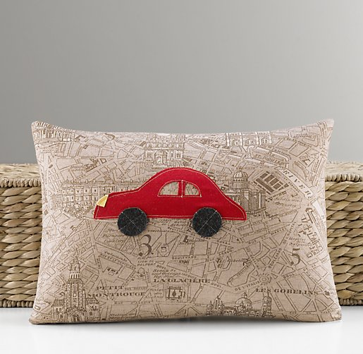 Applique Car Pillow Cover & Insert