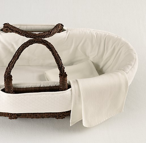 European Vintage-Washed Diamond Matelassé Moses Basket Bedding