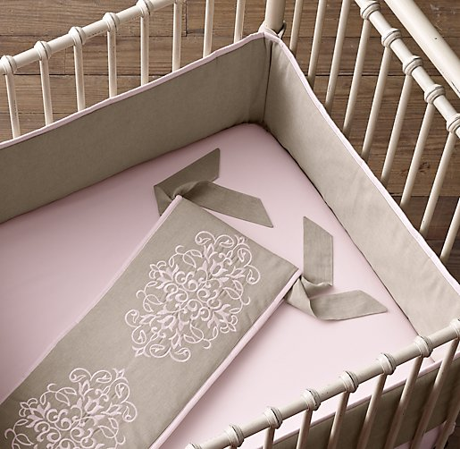 European Embroidered Trellis Crib Bumper