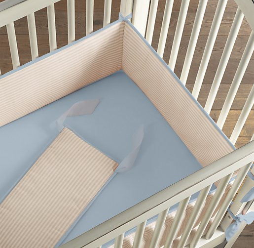 European Flax Stripe Crib Bumper