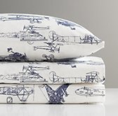 European Vintage Airplane Blueprint Crib Fitted Sheet
