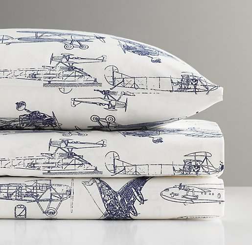 European Vintage Airplane Blueprint Toddler Pillowcase