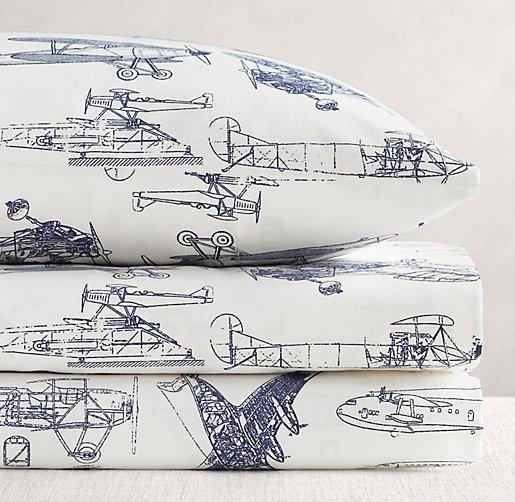 European Vintage Airplane Blueprint Sheet Set | Boy Sheet Sets ...