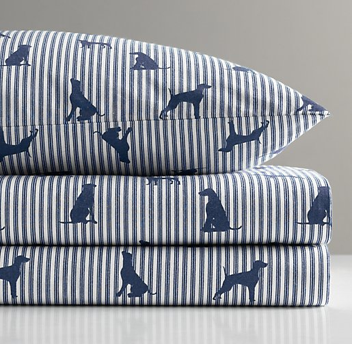 European Dog Silhouette Crib Fitted Sheet