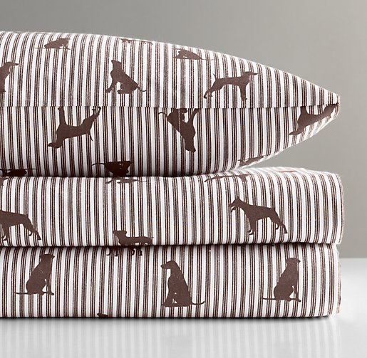 European Dog Silhouette Toddler Pillowcase
