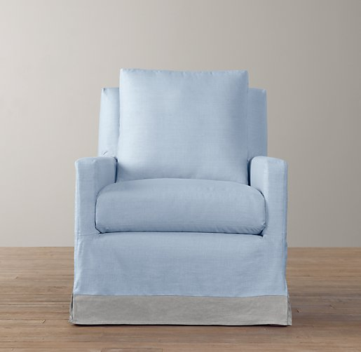 Tailored Track Arm Swivel Glider with Slipcover