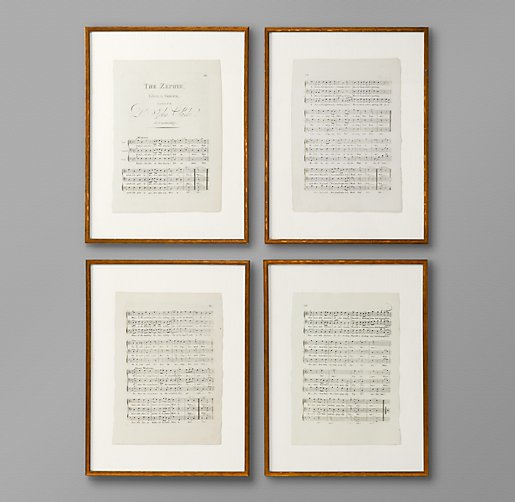 18th C English Sheet Music Art Set Of 4