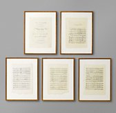 18th C. English Sheet Music Art - Set of 5