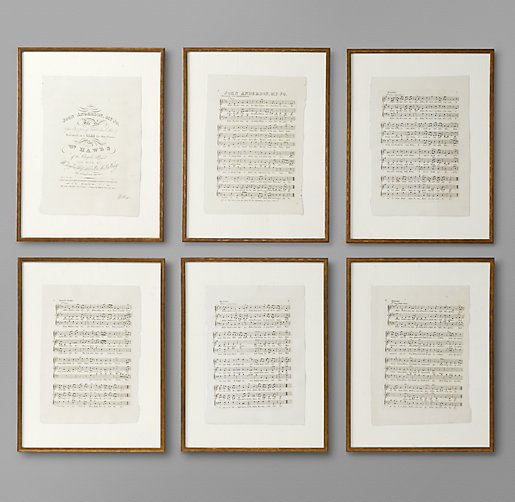 18th C. English Sheet Music Art - Set of 6