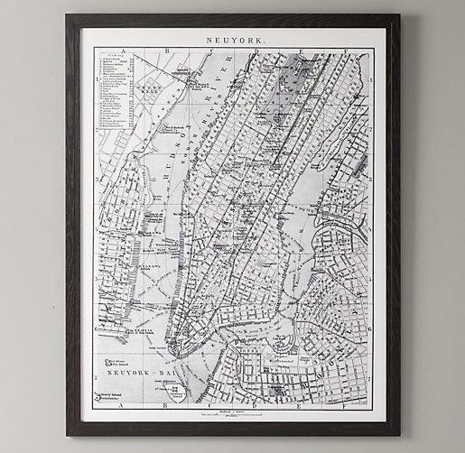 1900s Lithograph Map – New York