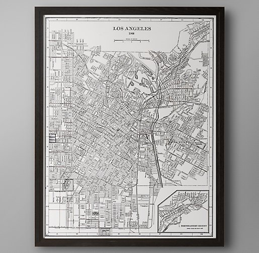 1900s Lithograph Map – Los Angeles