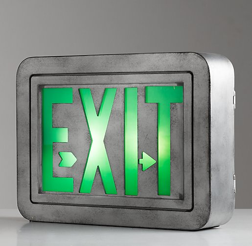 Vintage Illuminated Exit Sign