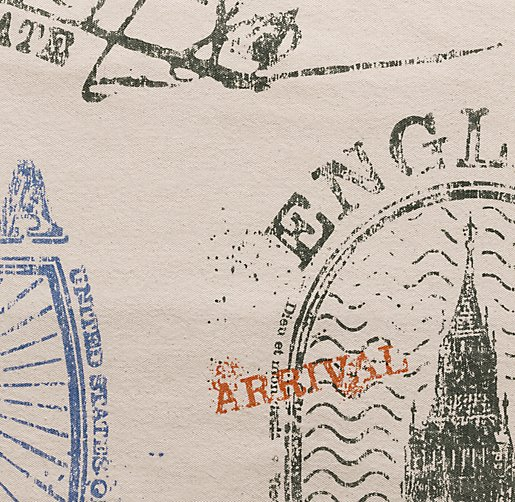 Vintage Passport Stamp Bedding Swatch