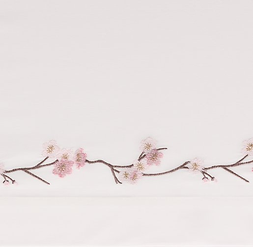 European Embroidered Cherry Blossom Bedding Swatch