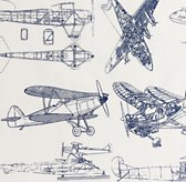 European Vintage Airplane Blueprint Bedding Swatch