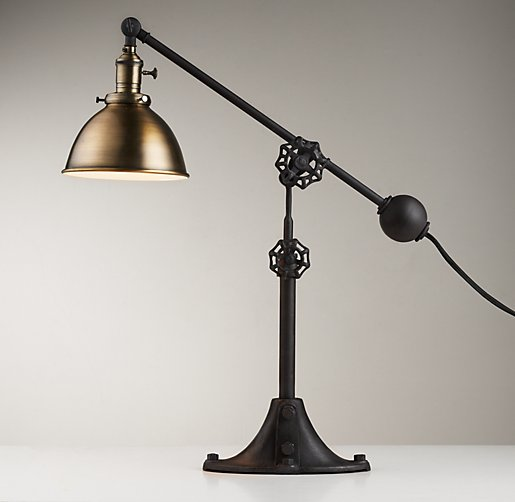 Industrial Era Task Lamp Antique Brass
