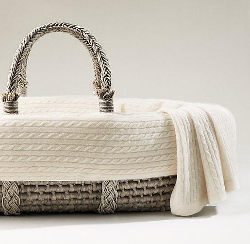 Cable Knit Cashmere Moses Basket Bedding & Ash Basket