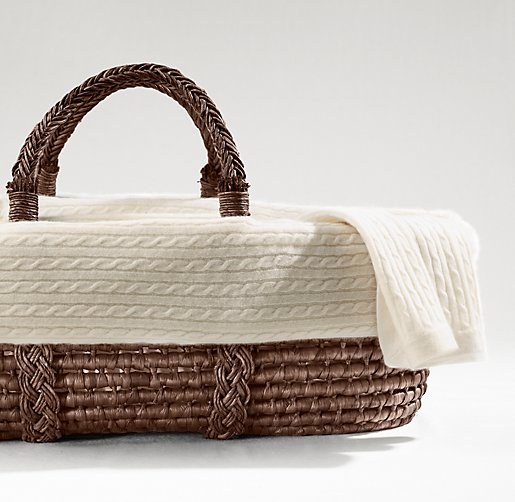 Cable Knit Cashmere Moses Basket Bedding & Espresso Basket