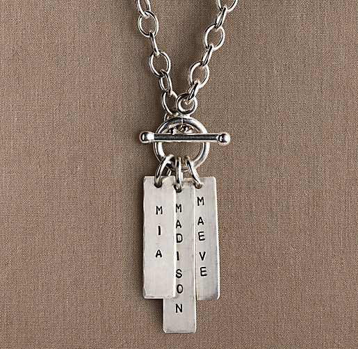 Sterling Silver Personalized Toggle Necklace