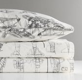 European Vintage Airplane Blueprint Standard Pillowcase