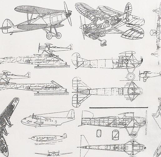 Vintage Airplane Blueprint Sheeting Swatch