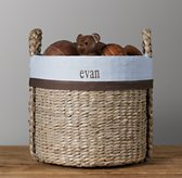 Chocolate Bordered Seagrass Oversized Toy Basket Liner