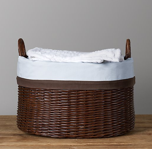 Chocolate Bordered Rattan Oval Toy Basket Liner