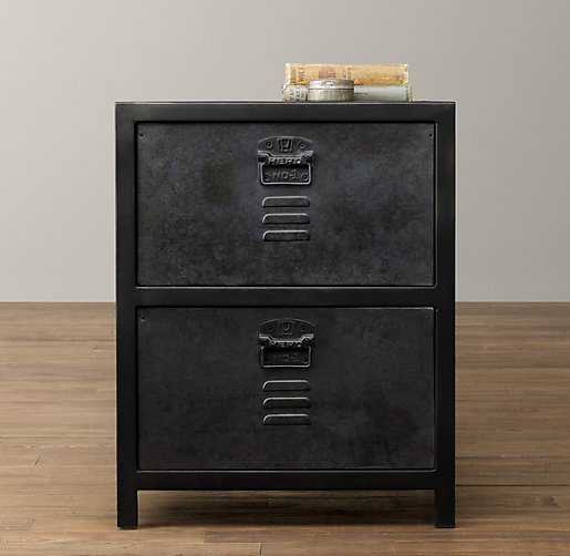 vintage locker 2 drawer nightstand