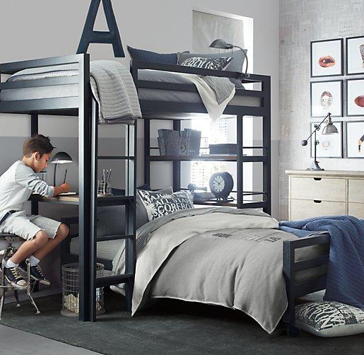 Industrial Loft Twin Study Bunk With 1 Desk