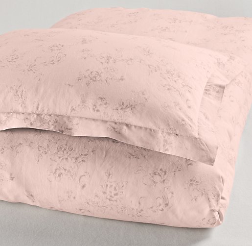 Washed Linen-Cotton Floral Sham