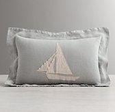 Appliquéd Linen Sailboat Boudoir Sham