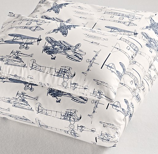 European Vintage Airplane Blueprint Toddler Duvet Cover
