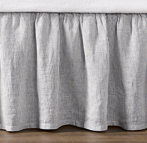 Washed Linen Pinstripe Crib Skirt