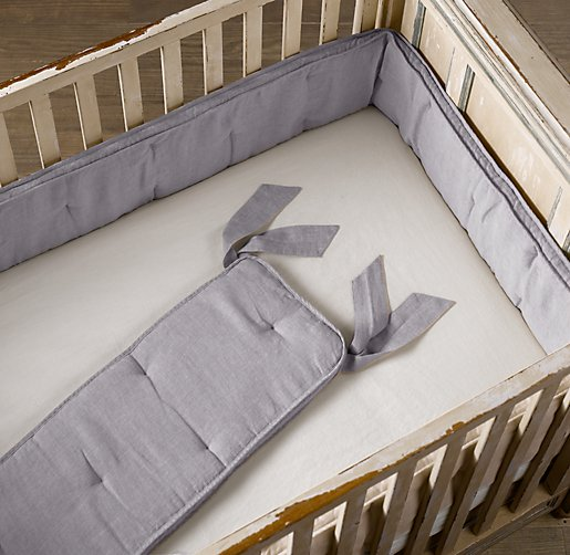 Washed Organic Linen Crib Bumper