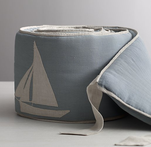 Appliquéd Linen Sailboat Bumper