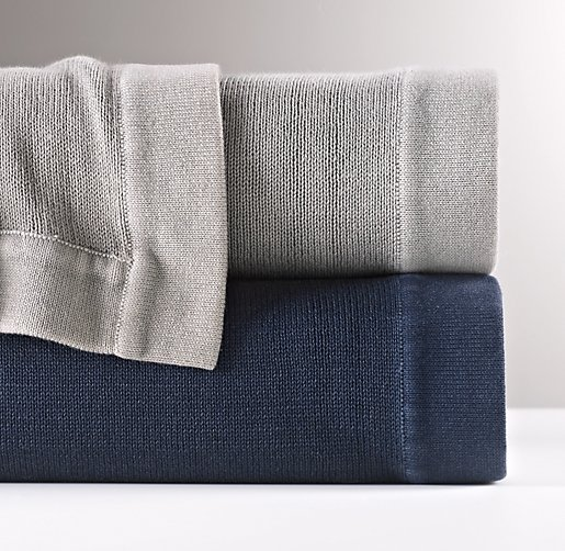 Stonewashed Cotton Knit Blanket
