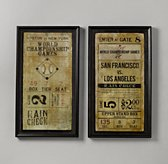 Vintage Baseball Ticket Art Set of 2