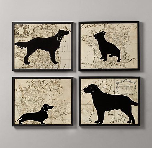 Dog Silhouette Art Set of 4
