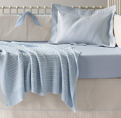 European Flax Stripe & Italian 600 Sateen Nursery Bedding Collection