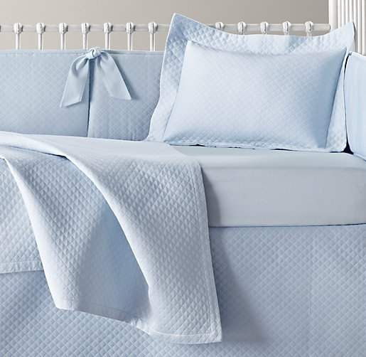 European Diamond Matelassé & Italian 600 Sateen Nursery Bedding Collection