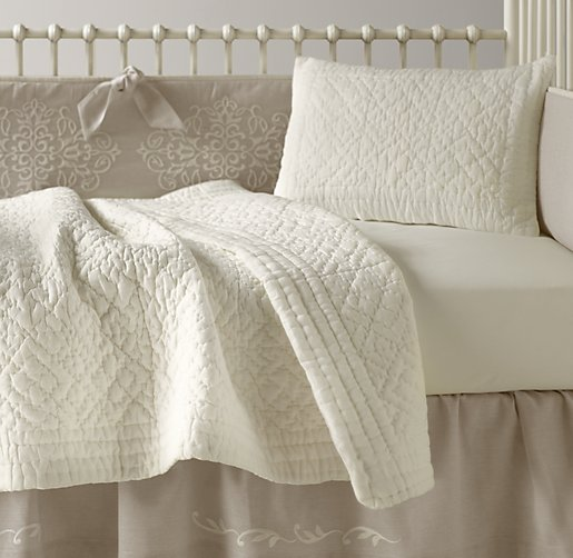 European Embroidered Trellis & European Vintage Washed Percale Nursery Bedding Collection