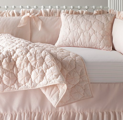 Frayed Ruffle & European Vintage Stripe Nursery Bedding Collection